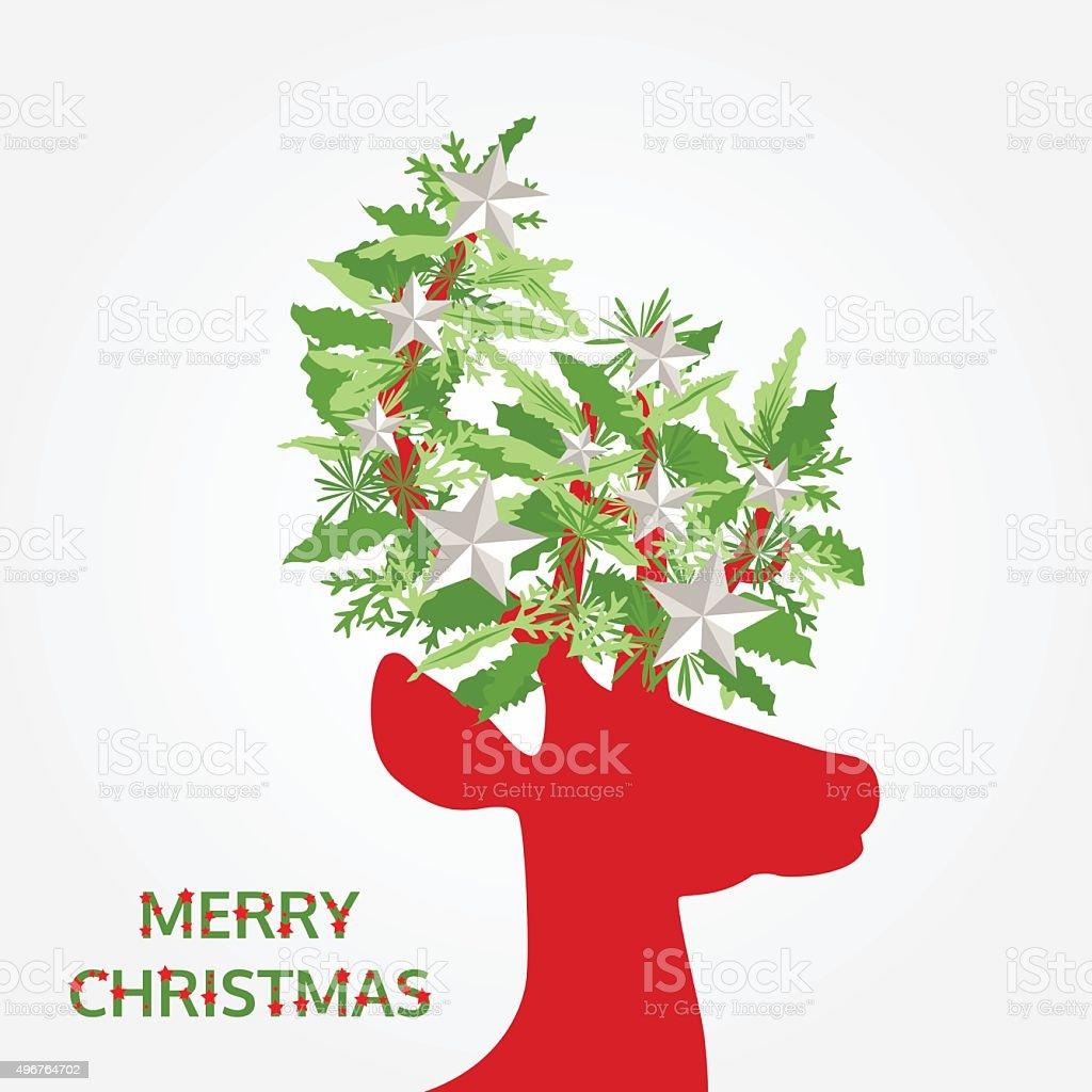 Immagini Natalizie Vettoriali.Buon Natale Con Decorazioni Natalizie Su Carta Vettoriale Testa Di