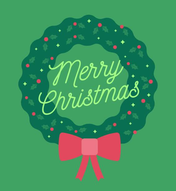 merry christmas wreath - holiday season stock illustrations