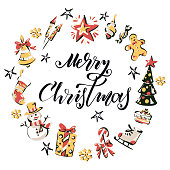 """Hand drawn set of colored vector winter elements with lettering """"merry christmas"""" in the middle."""
