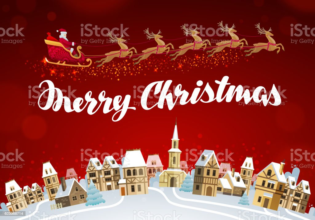 Merry Christmas Xmas Greeting Card Vector Stock Vector Art & More ...