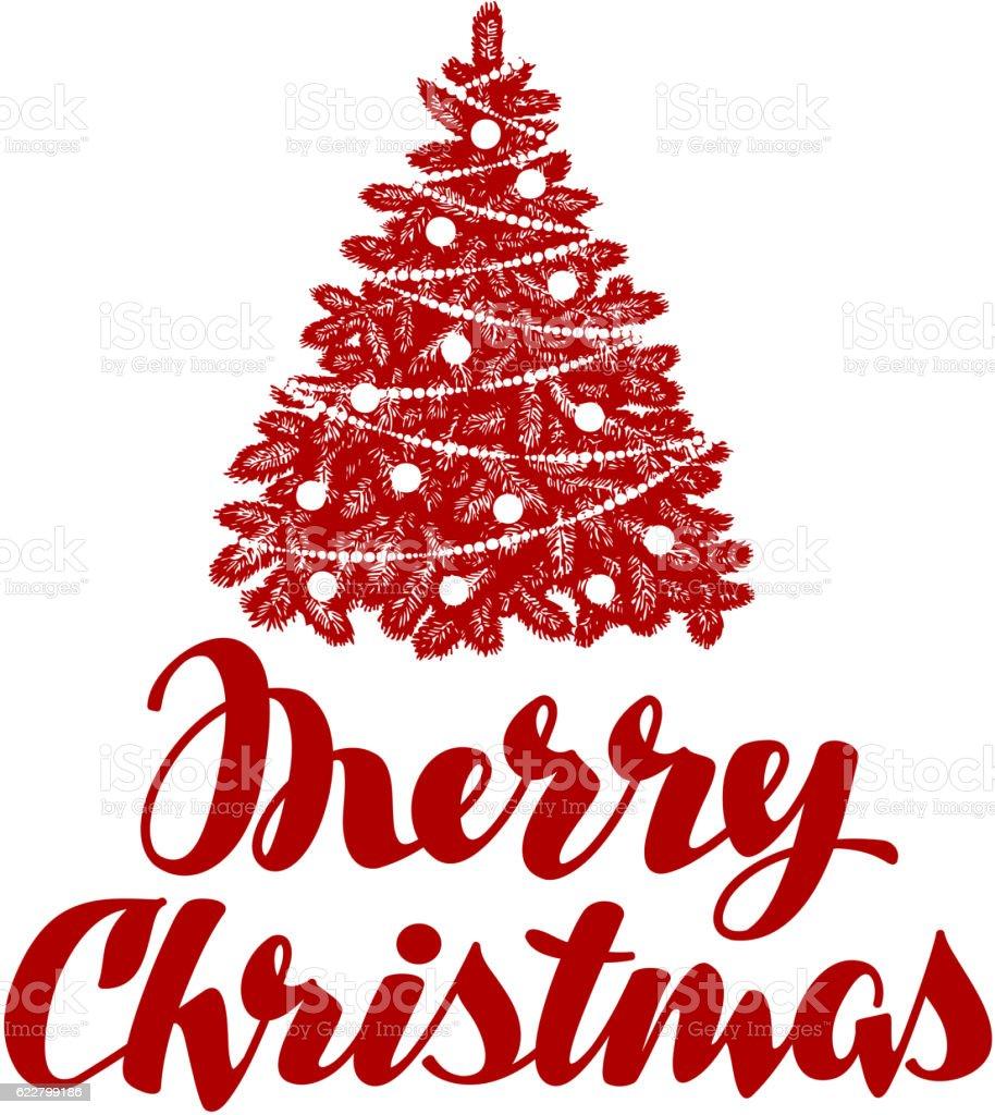 Christmas Tree Merry Christmas: Merry Christmas Xmas Tree Vector Illustration Stock