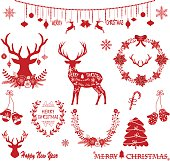 Merry Christmas,Christmas Flowers,Deer,Red Christmas,Wreath,Christmas decoration Collections.