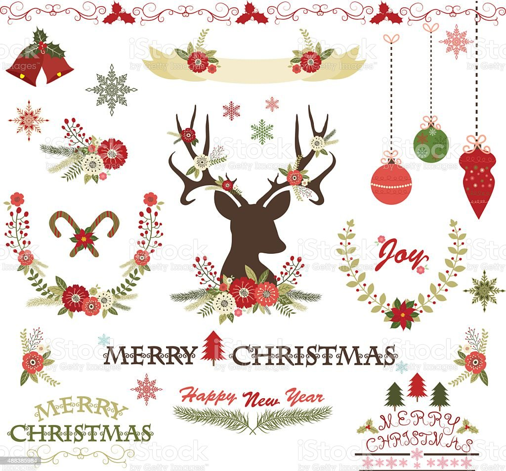 Merry ChristmasChristmas FlowersDeerRustic ChristmasWreathChristmas Set