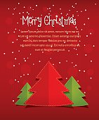 Merry christmass card with text space vector illustration on red textured background, idea of new year holiday greeting card, xmas postcard cover, festive banner decoration