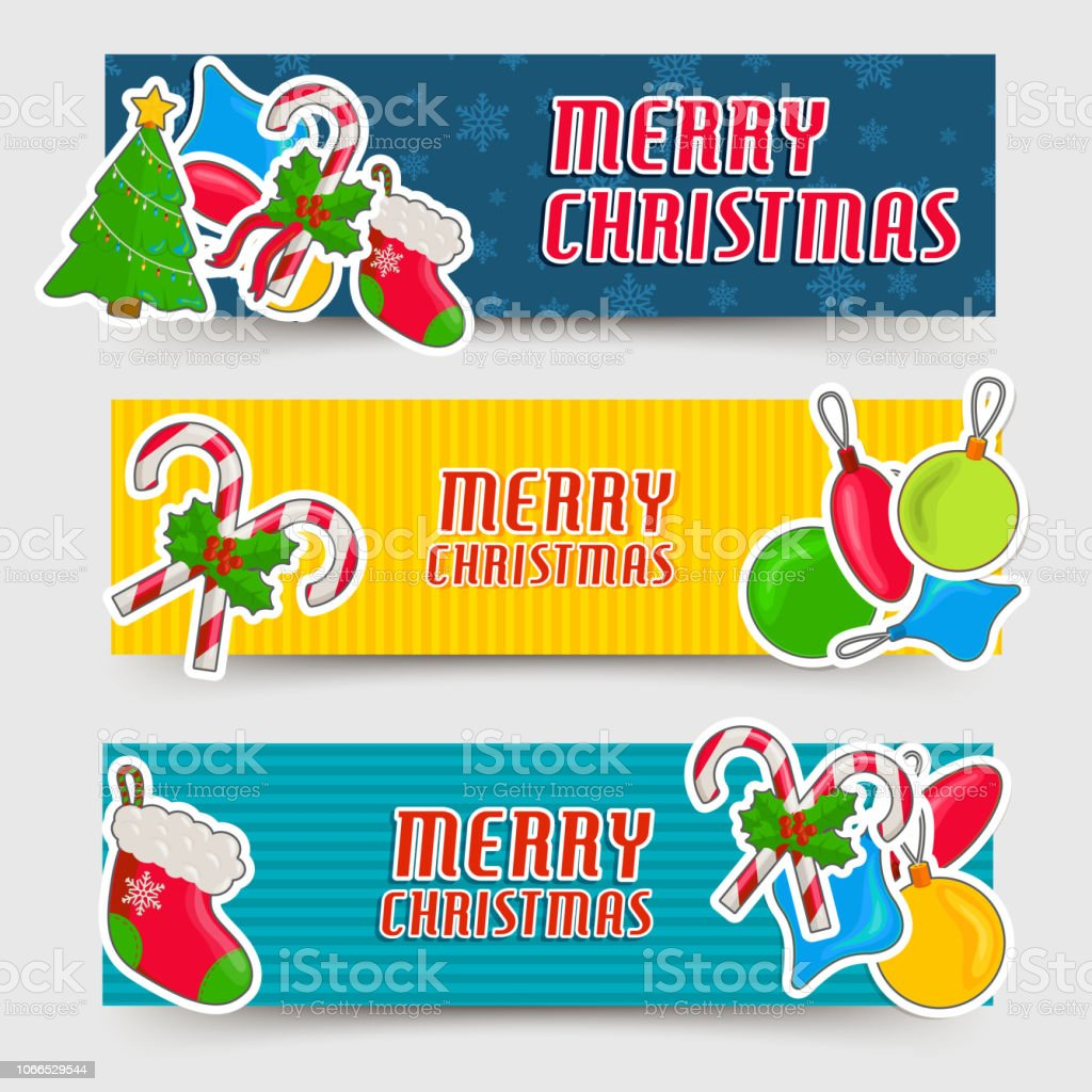 merry hristmas and happy new year banners cards set concepts vector illustration design royalty