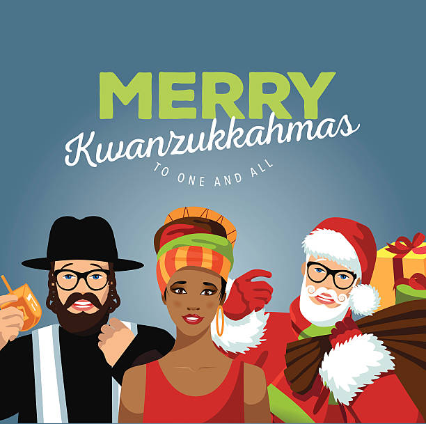 Merry Kwanzukkahmas with Rabbi, Santa and African woman vector art illustration