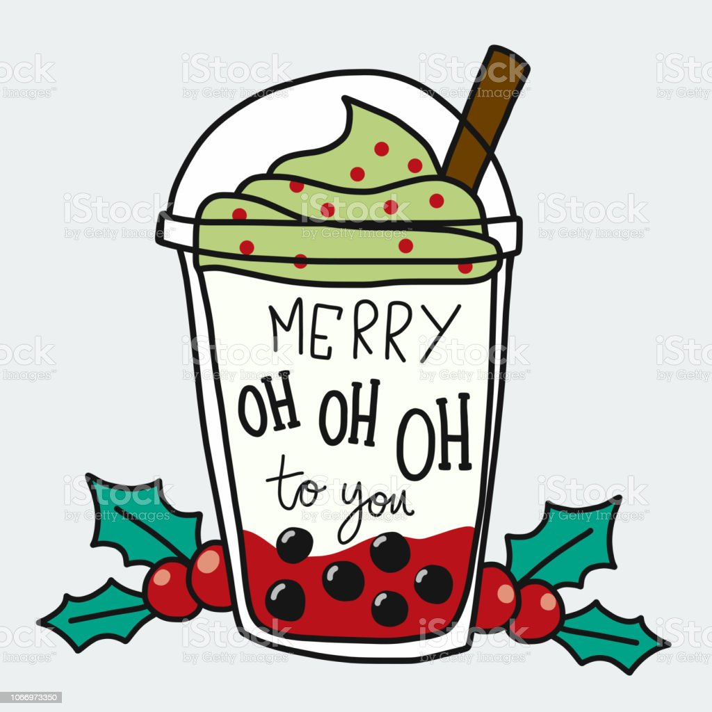Merry Oh Oh Oh to you word and smoothie cup cartoon doodle style vector illustration vector art illustration