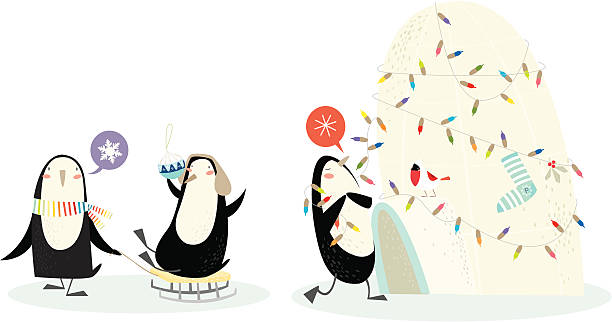 Merry penguin christmas! vektorkonstillustration