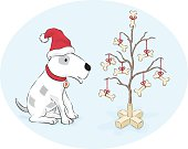 A merry, patch-filled dog admiring a bone-decorated tree  - Cartoon - Ai CS3, PDF and 300dpi JPG included.
