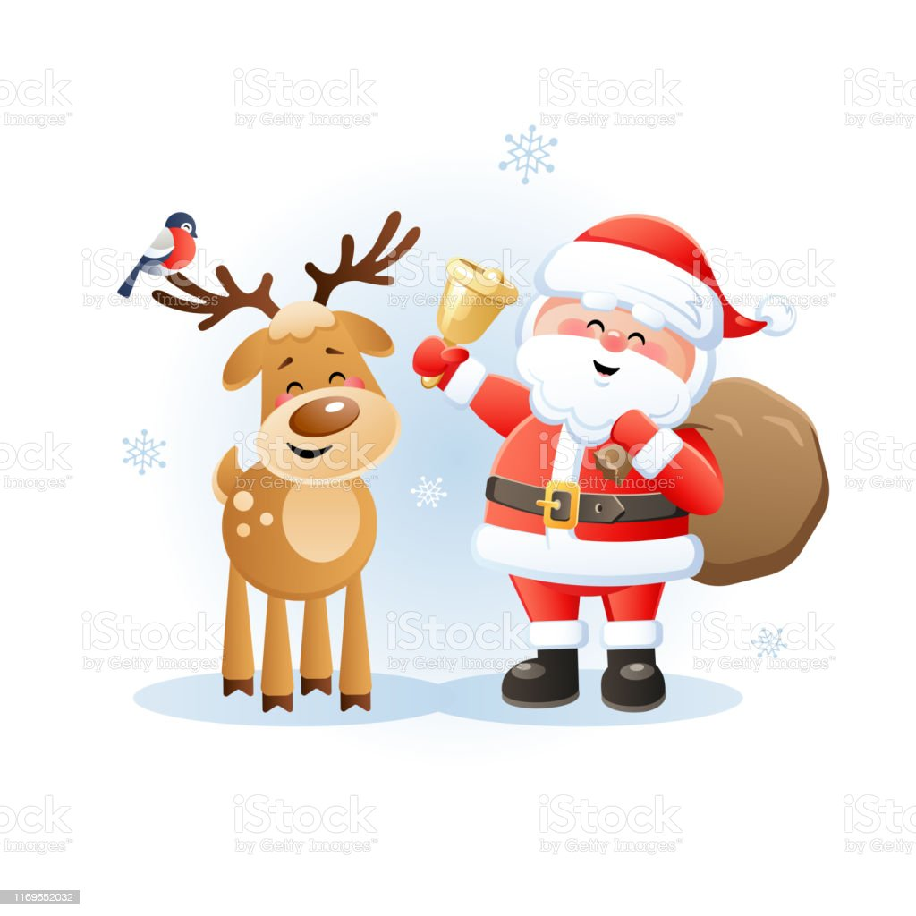 merry santa claus with reindeer and bullfinch cute christmas cartoon characters stock illustration download image now istock merry santa claus with reindeer and bullfinch cute christmas cartoon characters stock illustration download image now istock