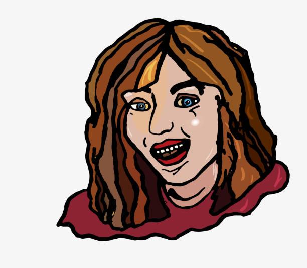 illustrazioni stock, clip art, cartoni animati e icone di tendenza di merry simple girl laughs with open smile teeth - smile woman open mouth