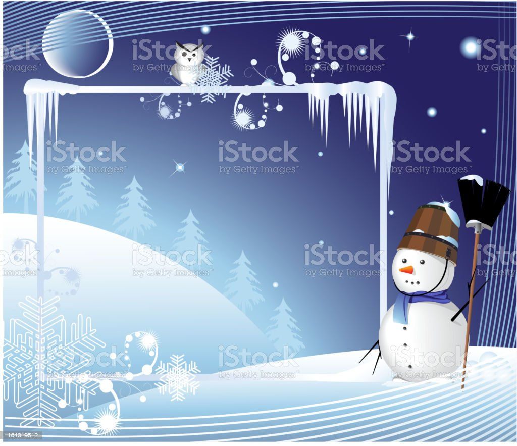 Merry snow man with a broom royalty-free stock vector art