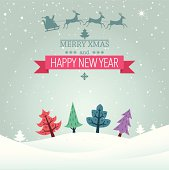 Merry Xmas and Happy New Year banner and the christmas illustration. Eps10 vector file.