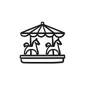 Merry-go-round sketch icon