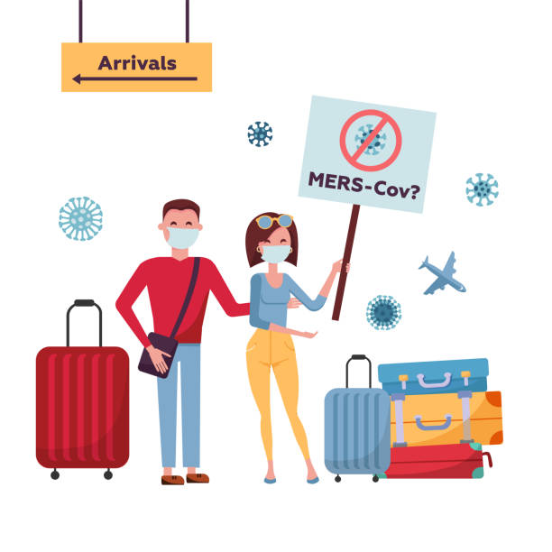ilustrações de stock, clip art, desenhos animados e ícones de mers-cov middle east respiratory syndrome coronavirus , novel coronavirus 2019-ncov . tourists couple from china with medical face mask, travel bag moves from direction of arrival with banner - covid flight