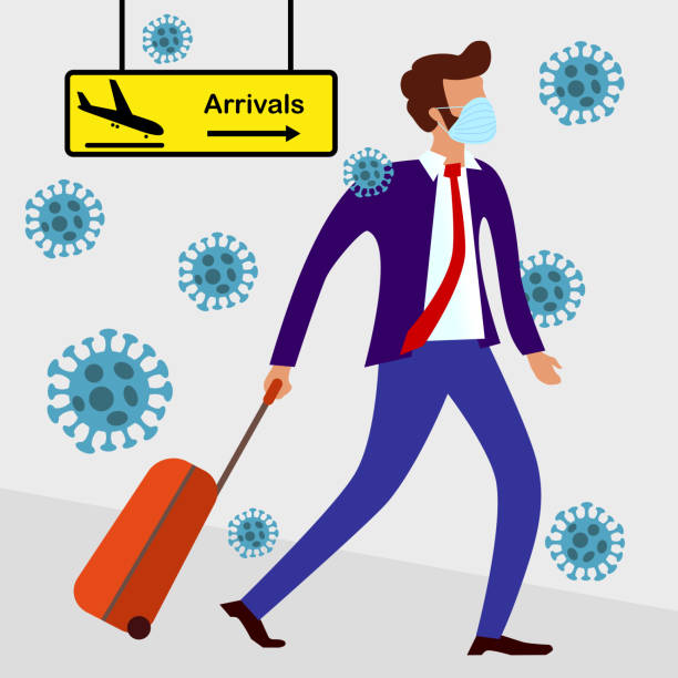 MERS-Cov (middle East respiratory syndrome coronavirus), Novel coronavirus (2019-nCoV), handsome bearded man in suit with blue medical face mask and travel bag on wheels moves from direction of arrival MERS-Cov (middle East respiratory syndrome coronavirus), Novel coronavirus (2019-nCoV), handsome bearded man in suit with blue medical face mask and travel bag on wheels moves from direction of arrival epidemic stock illustrations