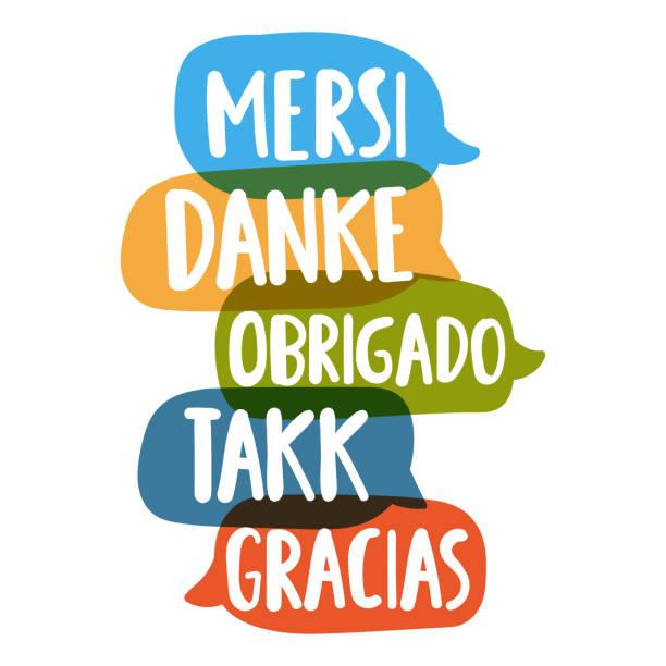 Mersi, danke, obrigado, takk, gracias. Social network or bilingual translation concept. Vector hand drawn, lettering illustration on white background. Thank you in different languages. thank you teacher stock illustrations