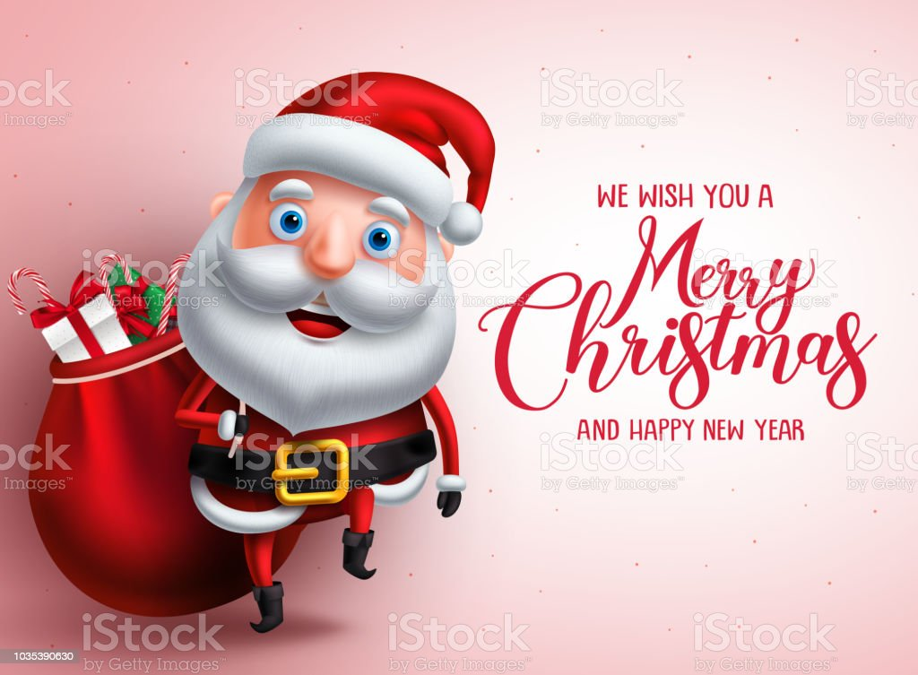 Mery Christmas Greeting With Santa Claus Vector Character Carrying ...