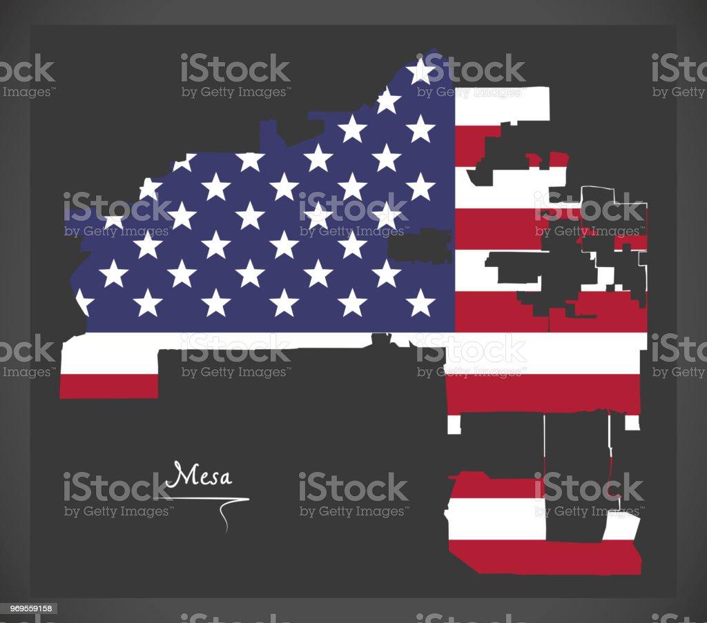 Mesa Arizona Map With American National Flag Illustration Stock ...