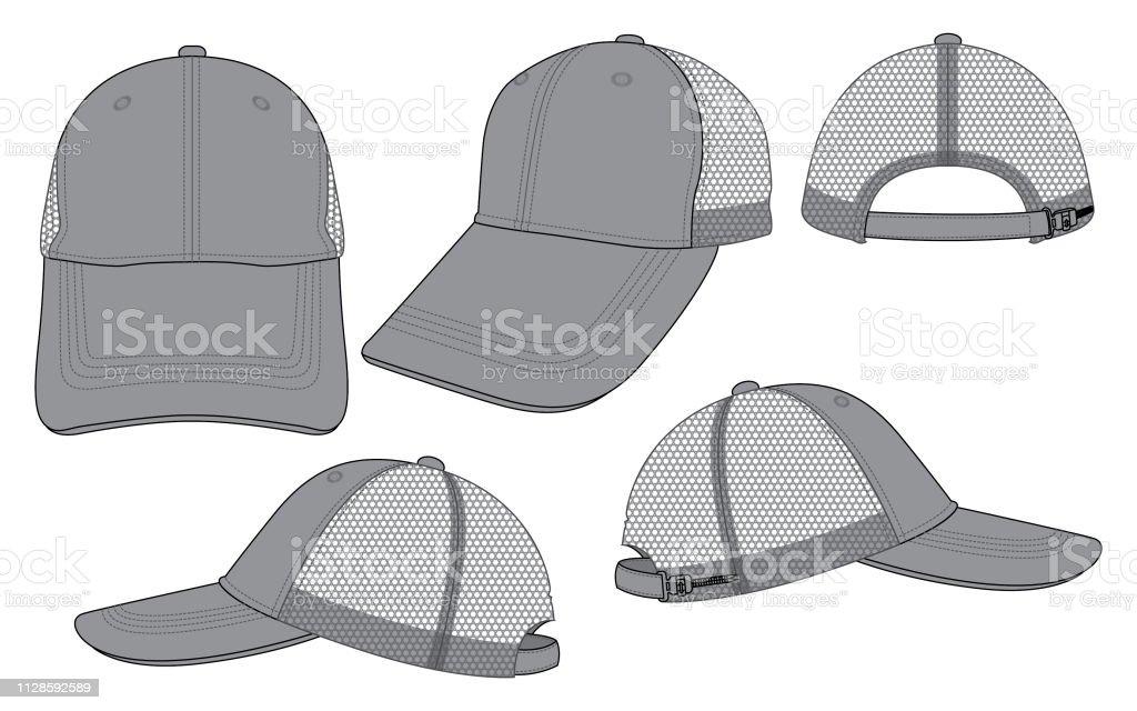 Mesh Baseball Cap For Template Stock Illustration - Download