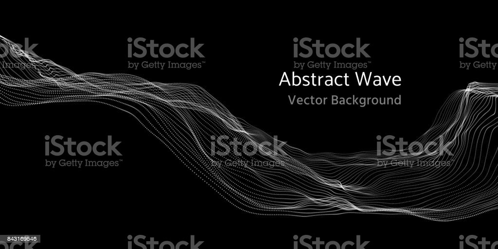 Mesh network 3d abstract wave and particles vector background vector art illustration