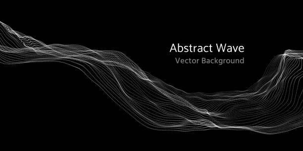 mesh-netzwerk 3d abstrakte welle und teilchen vektor hintergrund - kunstaktivitäten stock-grafiken, -clipart, -cartoons und -symbole