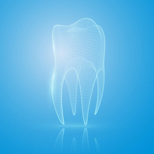 illustrazioni stock, clip art, cartoni animati e icone di tendenza di 3d mesh tooth on a blue background. - denti
