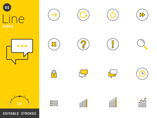 message and basic line icons collection, editable strokes. for mobile concepts and web apps. vector illustration, clean flat design - oś czasu pomoc wizualna stock illustrations