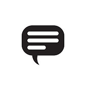 Message - black icon on white background vector illustration for website, mobile application, presentation, infographic. Talking chat dialogue concept sign design. Speech bubble communication.