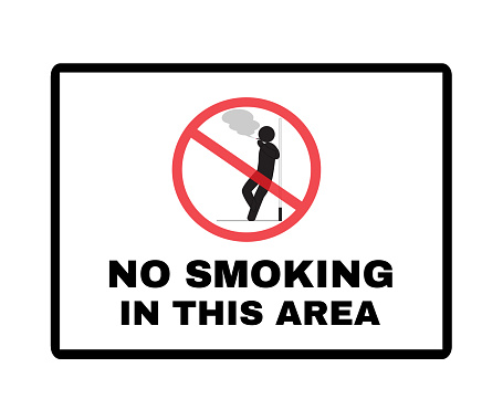 Message Board with text NO SMOKING IN THIS AREA, Beware and Not Allowed Sign, vector illustration.