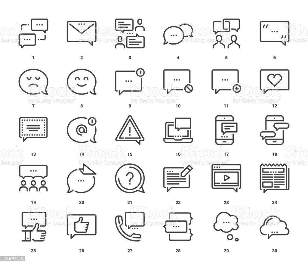 Message Bubbles Icons vector art illustration