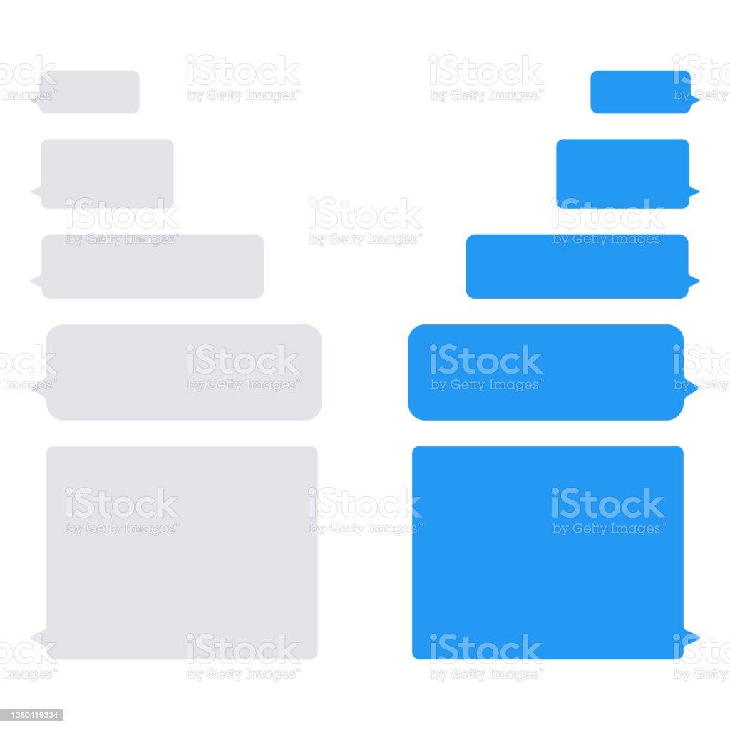 Bolhas de mensagem vetor ícones para bate-papo. Bolhas de imessage vector design modelo para bate-papo Mensageiro - ilustração de arte em vetor