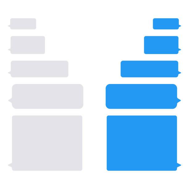 ilustrações, clipart, desenhos animados e ícones de bolhas de mensagem vetor ícones para bate-papo. bolhas de imessage vector design modelo para bate-papo mensageiro - fontes de bolha