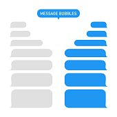 Message bubble for text. Chat or messenger in phone. Box for sms and speech. Interface for social app-talk. Blue and gray template for conversation. Service, background of dialog in mobile. Vector.