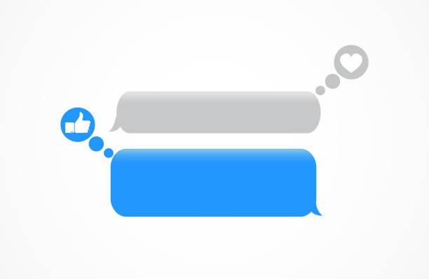 nachrichtenblasen mit gleichnis und herz - sms stock-grafiken, -clipart, -cartoons und -symbole
