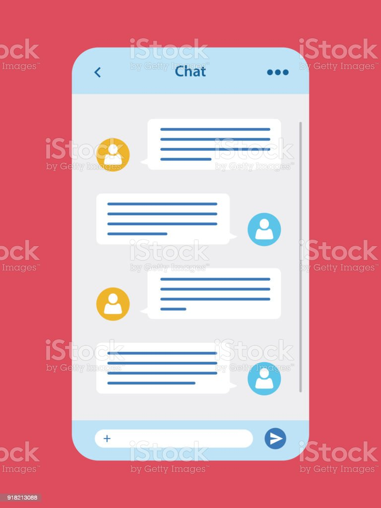 Message Chat App User Interface Stock Illustration - Download Image