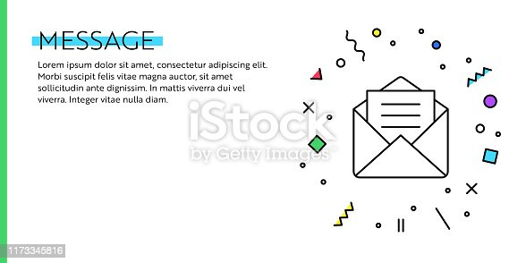 Message Concept. Geometric Retro and geometric Style Web Banner and Poster Concept with Letter Icon.
