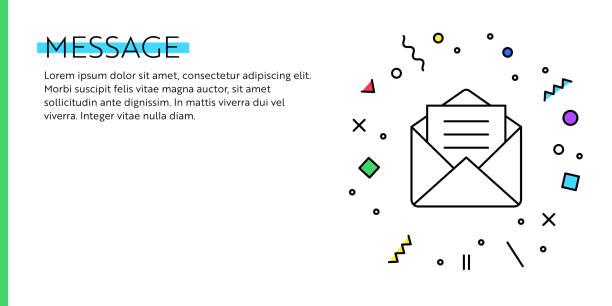 illustrazioni stock, clip art, cartoni animati e icone di tendenza di message concept. geometric retro and geometric style web banner and poster concept with mail icon. - newsletter
