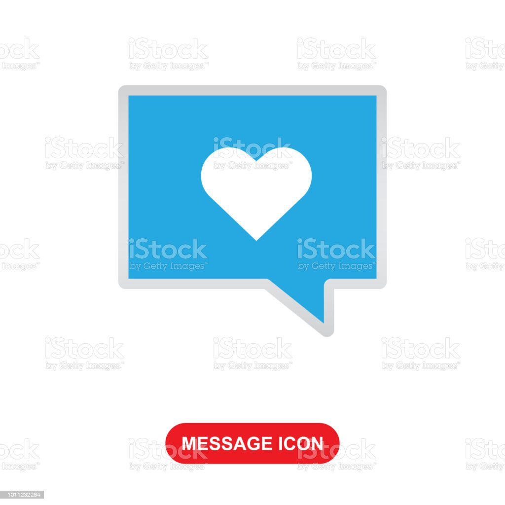 Message Icon With Love Symbol Vector Icon Stock Vector Art More