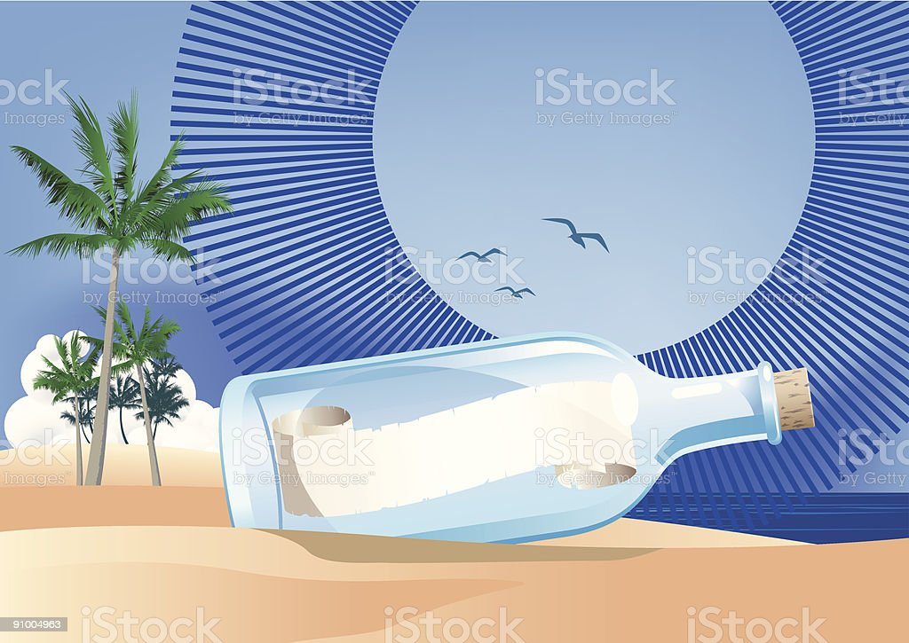 message in a bottle 2 vector art illustration
