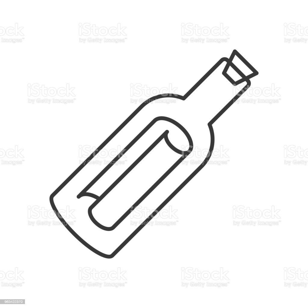 Message dans une bouteille icône, vecteur de conception de ligne - clipart vectoriel de Bouteille libre de droits