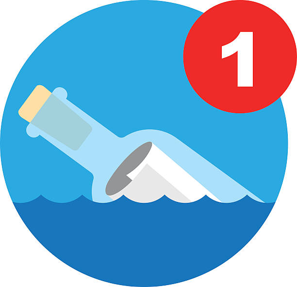 Message In A Bottle Icon Vector Illustration Of A Message Bottle Which Is To Be Used As A Computer Icon For Incoming Mail Notification floating on water stock illustrations