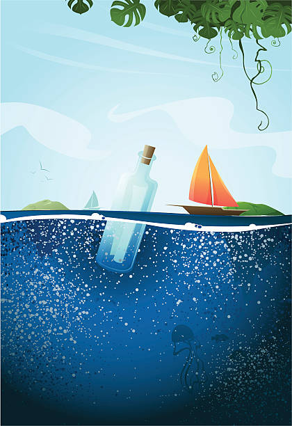 Message in a Bottle Message in a bottle landscape. floating on water stock illustrations