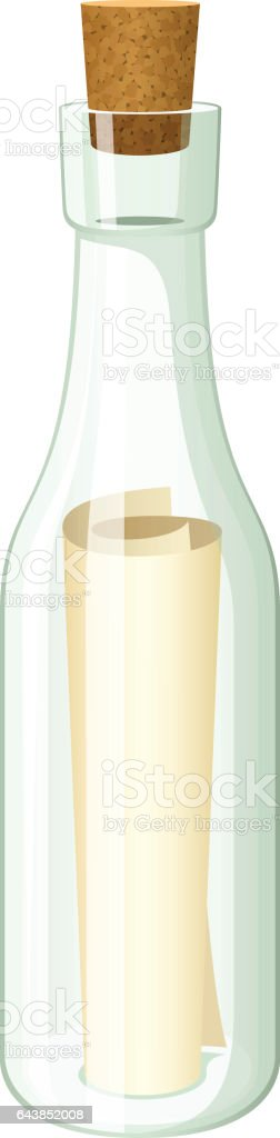 Message in a Bottle vector art illustration