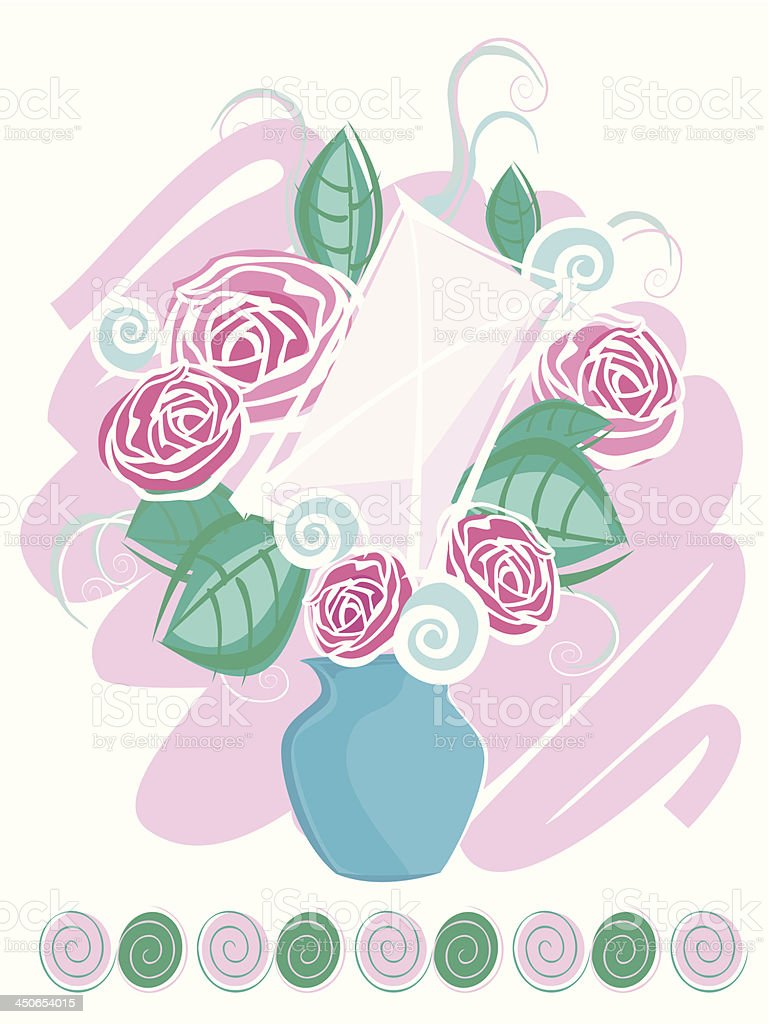 Message in bouquet royalty-free stock vector art