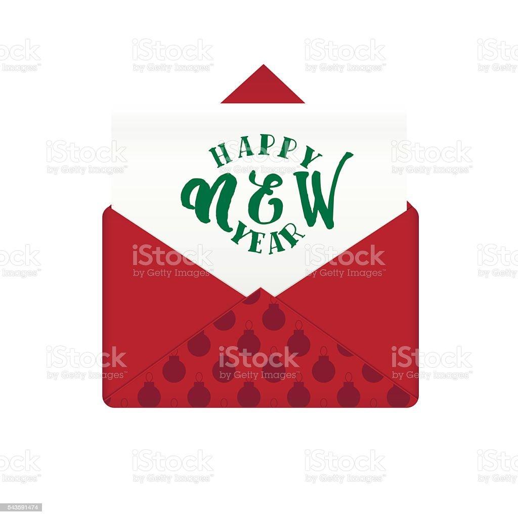 Nachricht Im Umschlag Mit Frohes Neues Jahr Gruß Stock Vektor Art ...