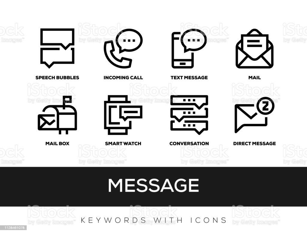 Message Keywords With Icons - Royalty-free A usar um telefone arte vetorial