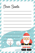 Message letter card for Santa Claus at Christmas