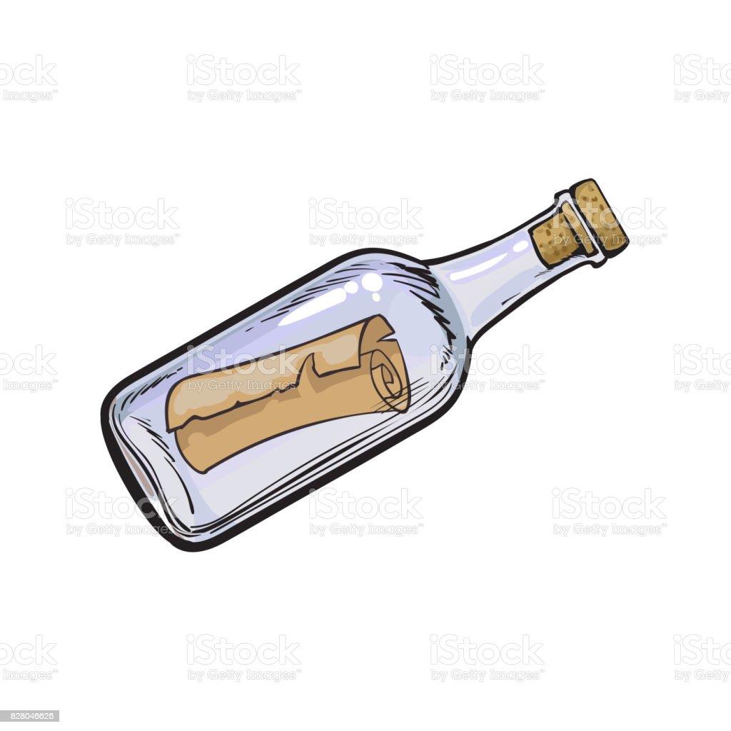 Message letter scroll in transparent glass bottle vector art illustration