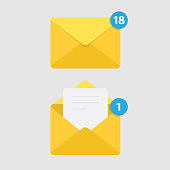 istock Message Notification Isolated on White Background and Mail Icon. 1091878318